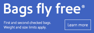 Learn about bags fly free.  Applies to your first and second checked bags.  Weight and size limits apply.