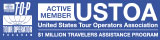 Top tour operator program logo and United States Tour Operators Association logo