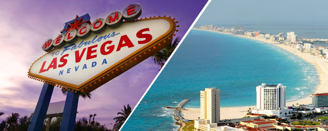 Las Vegas and Cancun