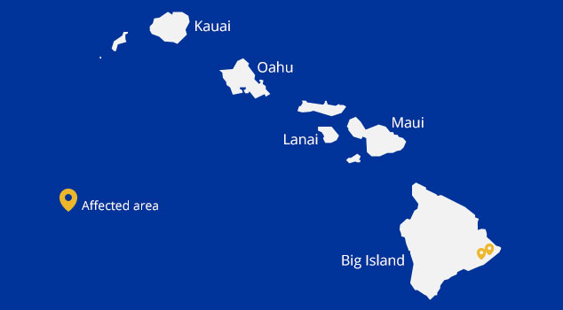map of hawaii with affected area indicated - eastern end of Hawaii's Big Island