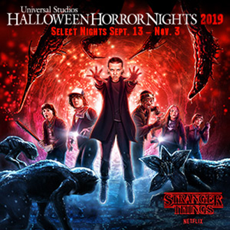 Universal Studios Halloween Horror Nights 2019. Select Nights Sept 13 - Nov 3.  Stranger Things Logo